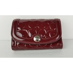 Coach Wallet Dark Red Patent Leather Monogram NEW